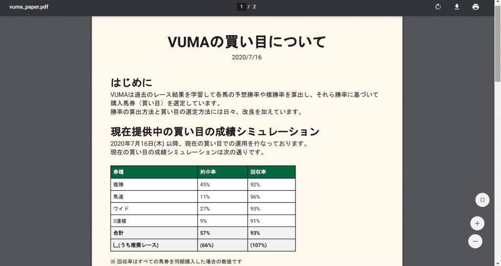 VUMA 買い目について